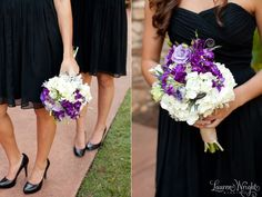 Purple and white bridesmaids bouquet. Black bridesmaids dress