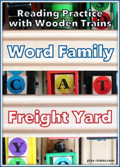 Learn to read through play with trains!  A simple and fun game to practice word families.