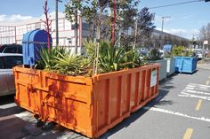Awesome 'repurposing' of dumpsters for planters, pools and other urban amenities.  Nature & life in industrial containers....