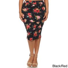 bce7bcf977 Accentuate your curves with this fitted pencil skirt featuring a bold,  cheery floral print.