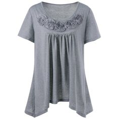 $15.71 Plus Size Ribbons Embellished Swing Top - Gray