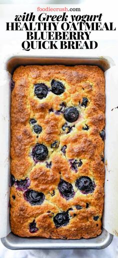 This incredibly easy blueberry bread (it takes just 10 minutes to mix!) gets an added dose of healthy with the addition of Greek yogurt and oats. Quick Bread Recipes, Banana Bread Recipes, Yogurt Recipes, Baking Recipes, Dessert Recipes, Blueberry Recipes For Two, Easy Healthy Bread Recipe, Recipes With Blueberries, Easy Blueberry Desserts