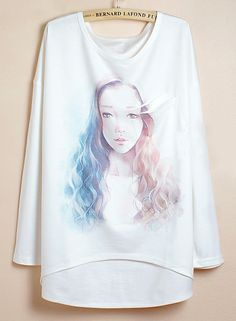 White Batwing Sleeve Long Haired Girl Print Dipped Hem T-Shirt 0.00
