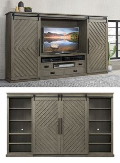 This unique 3 piece #entertainment wall unit is a stylish and functional place to house your TV and media devices. The barn style sliding doors will hide your television and components when you are not watching it to display other items. This wall unit features open display space and hidden storage compartments. Keep all of your media devices organized with a built-in power bar featuring 2 plugs and two USB ports. The side piers feature adjustable shelves for display space. #shopgahs #tvcenter