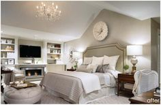 property brothers master bedroom I Like the dark bedside tables offsetting the white bed