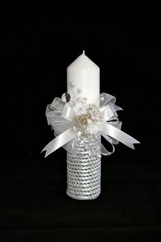 Christening Candle, Ceremony Candle, First Holy Communion Candle, Baptism Accessory, Vela de Primera Comunion Holy Communion Dresses, Communion Gifts, First Holy Communion, Candle Centerpieces, Pillar Candles, Baptism Party, Baby Baptism, Baptism Candle, Baby Dedication