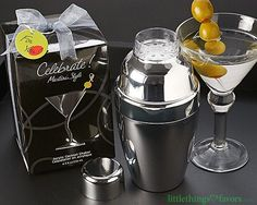 Girls and guys alike are sure to enjoy these trendy and practical Celebrate! Martini Style Cocktail Shaker Set Favors, perfect for all occasions! Whether youre celebrating a birthday, anniversary, wedding or bachelorette party, these mini cocktail shakers will certainly be a gift for everyone who attends.