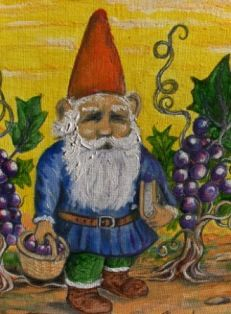 GNOME IN THE VINYARD. GNOMO EN LA VENDIMIA