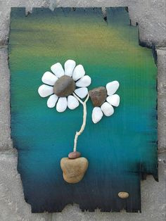 Pebble Art / Rock Art Flowers (white flowers) on reclaimed wood, Approx Stone Crafts, Rock Crafts, Rock Flowers, White Flowers, Flower Art, Art Flowers, Art Rupestre, Sea Glass Mosaic, Rock And Pebbles