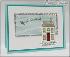 Holiday Home, All is Calm, neighbor, houses, Santa and Sleigh, Christmas, Stampin' Up!, #stampinup, Connie Babbert, www.inkspiredtreasures.com.  Take advantage of my Adhesive Sale from Nov. 9-23!