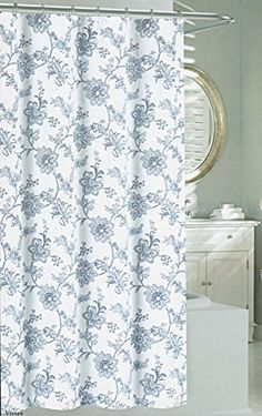 Nicole Miller Fabric Shower Curtain by Floral Shower Curtain Jacobean  Flowers Blue White Nicole MillerShower Curtain Fabric Tahari Home Milan Scroll Large Medallion  . Blue And Silver Shower Curtain. Home Design Ideas