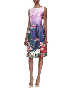 Oscar de la Renta Sleeveless Floral-Bottom Dress