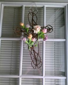 Easter Cross Wreath - made with coffee filter flowers and a Darico cross frame