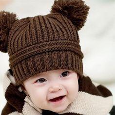新生児写真撮影の小道具かわいいベビーキッズ女の子boyデュアルボール暖かい冬ニットcap帽子ベビーボンネット子供帽子topi八一