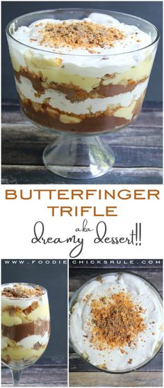Trifle (aka Dreamy Dessert) Butterfinger Trifle Recipe - Delicious and EASY! - Butterfinger Trifle Recipe - Delicious and EASY! Brownie Desserts, Oreo Dessert, Mini Desserts, Pudding Desserts, Layered Desserts, Trifle Pudding, Köstliche Desserts, Healthy Dessert Recipes, Dessert Trifles