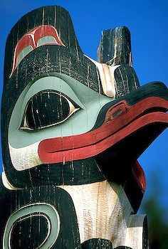 Alaska Raven Tlingit totem, Sitka National Historical Park, Alaska
