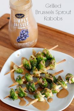 Grilled Brussels Sprout Skewers with Balsamic Dressing