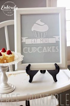 Eat More Cupcakes Free Kitchen Printable