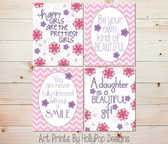 Girls Room Décor-Pink Purple Nursery Art-You are Never Full Dressed without a Smile-Chevron Décor-HollyPopDesigns, $40.00