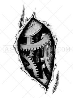 Internal Workings Bio-mechanical tattoo - AsIfTattooed.com