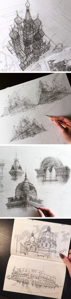 Hand Drawn Architectural Sketches by Adelina Gareeva