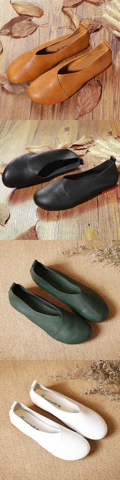 US$24.37 Large Size Pure Color Slip On Vintage Casual Flat Loafers