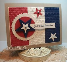 It's a Stamp Thing: Happy of July Vicki always does such a great job with her cards! American Card, Holiday Cards, Christmas Cards, Military Cards, Star Cards, Patriotic Crafts, Scrapbooking, Paper Cards, Creative Cards