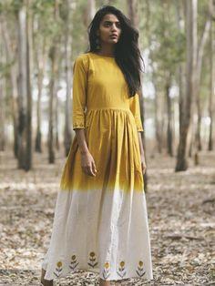 Mustard Yellow Khadi Embroidered Flared Dress Cotton Dress Indian, Cotton Gowns, Indian Dresses, Indian Clothes, Tunic Designs, Kurta Designs, Khadi Kurta, Shalwar Kameez, Churidar