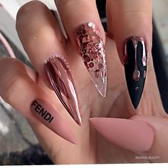 Long Stiletto Nails Design Modern and Easy Idea - Inspired Beauty Matte Stiletto Nails, Bling Acrylic Nails, Best Acrylic Nails, Acrylic Nail Designs, Gorgeous Nails, Pretty Nails, Nagellack Design, Fire Nails, Dream Nails