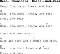 Childrens Songs and Nursery Rhymes, lyrics with chords for guitar, banjo etc for song head,-shoulders,-knees,-and-toes