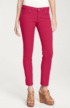 Paige Skinny Jeans-Comfortable Soft Stretch Fit! style Peg Skinny, not baggy in knees, fuchsia, 98% cotton, 2% spandex, made in U.S. of imported fabric, retail $189, cost $59.97 Century 21 (size 25)
