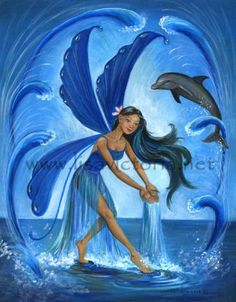 Fairy with Dolphins| Fairies World, Fairy  Fantasy Art Gallery - Lisa Victoria/Water Fairy