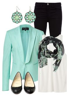 """Turquoise Blazer"" by qtpiekelso ❤ liked on Polyvore featuring moda, J Brand, Salvatore Ferragamo, T By Alexander Wang, Dolce&Gabbana e Christian Louboutin"