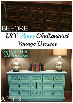 DIY Aqua Chalkpainted Vintage Dresser