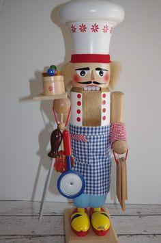 """Vintage STEINBACH Head Chef COOK BAKER 17"""" Nutcracker~GERMANY w/TAG"""