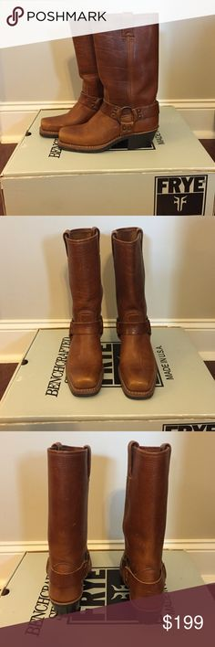 Frye Boots, Size 6 Frye. Size 6M. 12R Harness in Tan Color. Only Worn 2-3 times. Excellent Condition. Comes With Original Box. Pet and Smoke Free Home. Frye Shoes