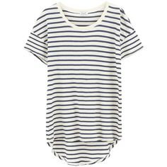 Splendid Sequoia Stripe Tee - Paper (930 GTQ) ❤ liked on Polyvore featuring tops, t-shirts, shirts, short sleeve, oversized t shirt, scoop neck t shirt, white striped shirt, white shirt and white stripes t shirt