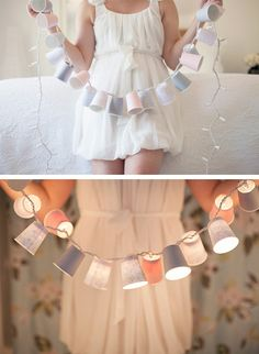 Adorable and cheap decoration; dixie cups, scrapbook paper to design, and christmas lights!