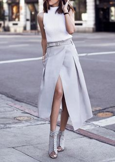 White knitted sleeveless top, gray skirt, heels. Summer street women fashion outfit clothing style apparel @roressclothes closet ideas