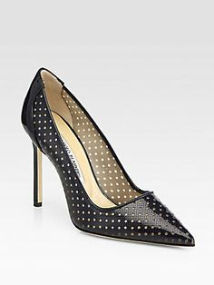 Manolo Blahnik BB Perforated Patent Leather & Mesh Pumps
