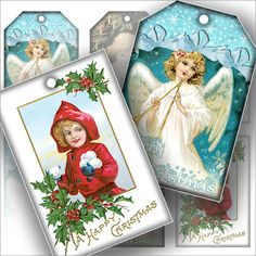 free christmas vintage printable | FREE Vintage Christmas greeting gift tag set printable collage sheet ...