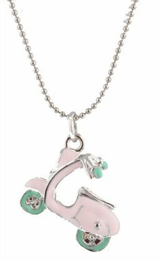 Girls Pink with Aqua Vespa Style Pendant with 18.5 Inch Adjustable Beaded Chain Necklace JOTW. $0.01. Great Quality Jewelry!. This adjustable necklace measures 18.5 inches.. This pendant measures .75 inches from left to right and 1.25 inches from top to bottom.. 100% Satisfaction Guaranteed!