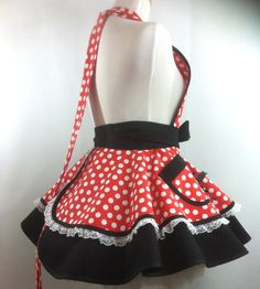 Retro Minnie Apron Minnie Mouse Costume Apron  Minnie Retro Apron Patterns, Minnie Mouse Costume, Long Ties, Pin Up Style, Cosplay, Costumes, Skirts, Fabric, Cotton