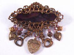 Vintage Jewelry Filigree Brooch Amethyst Glass by VintiqueJools, $20.00