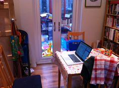 From @ostephens: #willhack my work space - the kitchen table