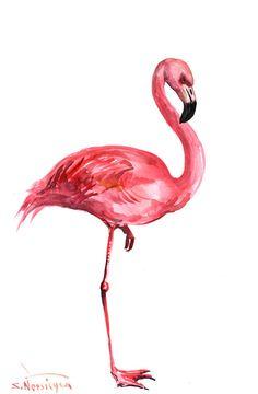 Pink Flamingo Original watercolor painting 17 X 11 by ORIGINALONLY, $44.00
