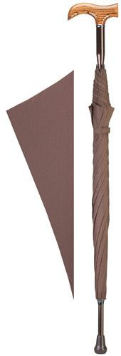 Ladies Derby Cane Umbrella Cane umbrella with scorched derby wood grain handle mounted on a sturdy non adjustable aluminum shaft measuring 36 inches long with a 24 inch brown nylon canopy and 8 ribs,