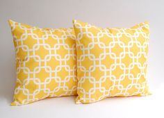 Yellow pillow covers set of two 20 x 20 decorative throw pillow covers in Yellow Gotcha via Etsy