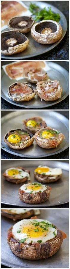 Baked Eggs in Prosciutto Filled Portobello Mushroom Caps (Paleo, Low Carb) Think Food, I Love Food, Low Carb Recipes, Cooking Recipes, Healthy Recipes, Egg Recipes, Salad Recipes, Baked Eggs, Baked Potato