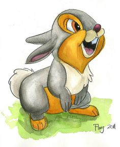Thumper (Bambi   Disney)   Watercolor by Andy Fling